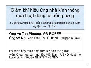 Ông Vu Tan Phuong, GĐ RCFEE Ông  Vo Nguyen Dai, PCT UBND Huy ện A Lưới