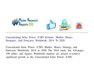 Concentrating Solar Power (CSP) Systems: Market Shares, Stra
