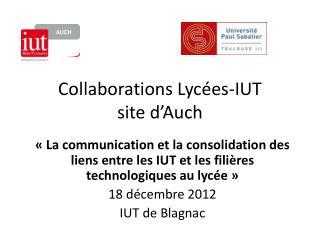 Collaborations Lycées-IUT site d'Auch