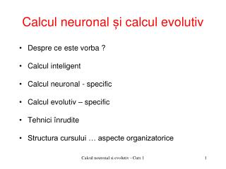 Calcul neuronal  ș i calcul evolutiv