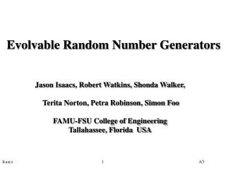 Evolvable Random Number Generators