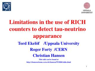 Limitations in the use of RICH counters to detect tau-neutrino appearance
