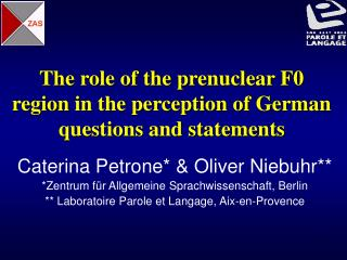 The role of the prenuclear F0 region in the perception of German questions and statements