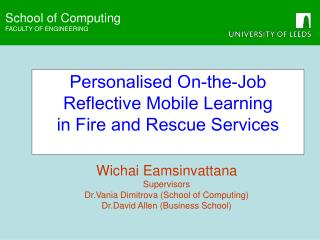 Personalised On-the-Job Reflective Mobile Learning  in Fire and Rescue Services