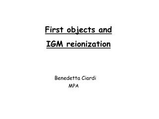 First objects and  IGM reionization