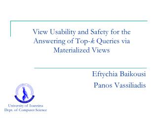 View Usability and Safety for the Answering of Top- k  Queries via Materialized Views