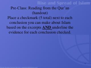 Pre-Class: Reading from the Qur'an (handout)