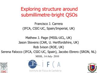 Exploring structure around  submillimetre-bright QSOs