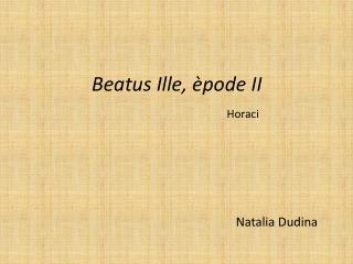 Beatus Ille, èpode II