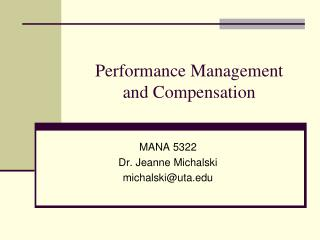 Performance Management  and Compensation