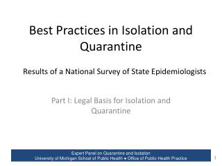 Best Practices in Isolation and Quarantine