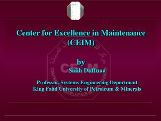 Center for Excellence in Maintenance (CEIM)  by