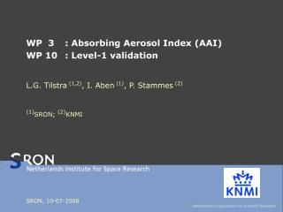 WP  3: Absorbing Aerosol Index (AAI) WP 10: Level-1 validation