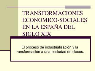 TRANSFORMACIONES ECONOMICO-SOCIALES  EN LA ESPA A DEL SIGLO XIX