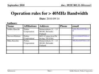 Operation rules for > 40MHz Bandwidth