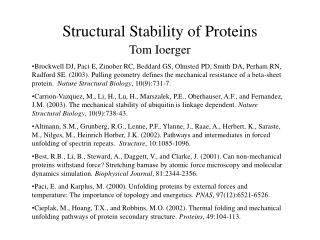 Structural Stability of Proteins