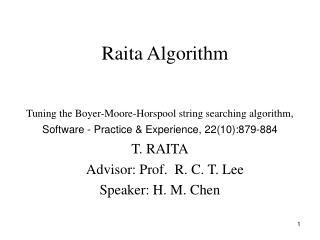 Raita Algorithm
