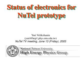 Status of electronics for NuTel prototype