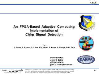 An  FPGA-Based  Adaptive  Computing Implementation of   Chirp  Signal  Detection