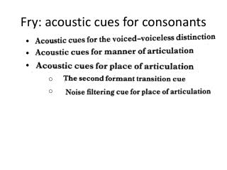 Fry: acoustic cues for consonants