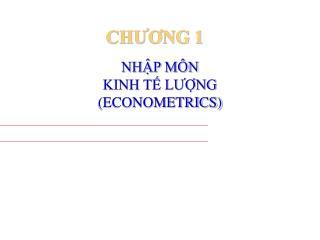 NHẬP MÔN  KINH TẾ LƯỢNG  (ECONOMETRICS)