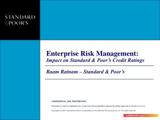 Enterprise Risk Management: Impact on Standard & Poor's Credit Ratings