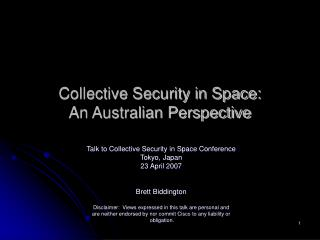 Collective Security in Space: An Australian Perspective