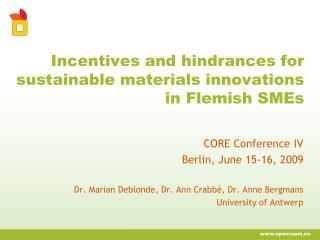 Incentives and hindrances for sustainable materials innovations in Flemish SMEs