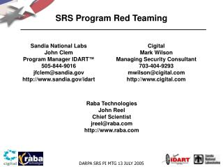 SRS Program Red Teaming