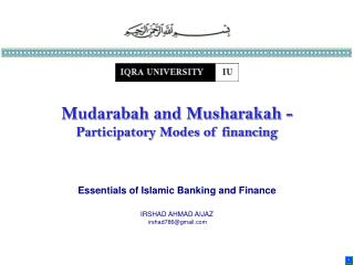 Essentials of Islamic Banking and Finance IRSHAD AHMAD AIJAZ irshad786@gmail