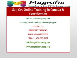 Sap Grc Online Training In Canada & Certification