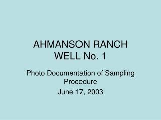 AHMANSON RANCH  WELL No. 1