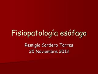 Fisiopatología esófago
