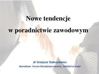 dr Grażyna Tadeusiewicz  Narodowe  Forum Doradztwa Kariery  Oddział w Łodzi