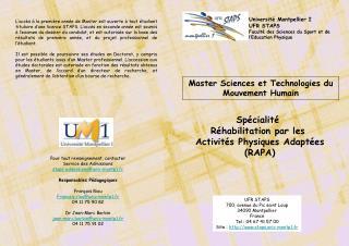 Master Sciences et Technologies du Mouvement Humain