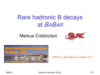 Rare hadronic B decays  at  B A B AR