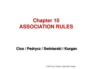 Chapter 10 ASSOCIATION RULES