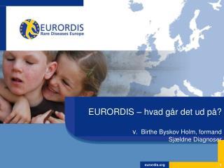 EURORDIS �  hvad g�r det ud p� ? v .  Birthe  Byskov  Holm,  formand Sj�ldne Diagnoser