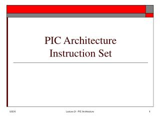 PIC Architecture Instruction Set