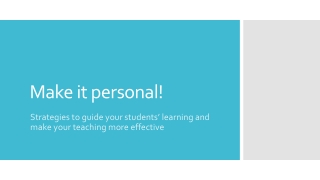 Enabling the personalising of learning through new technologies