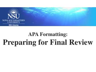 Preparing for Final Review