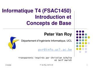 Informatique T4 (FSAC1450) Introduction et Concepts de Base