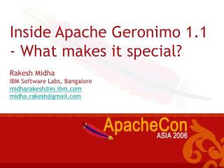 Inside Apache Geronimo 1.1 - What makes it special?