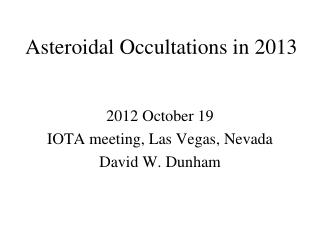 Asteroidal Occultations in 2013