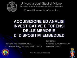 Laureando:       Relatore: Prof. Mattia MONGA      Vincenzo SCOGNAMIGLIO