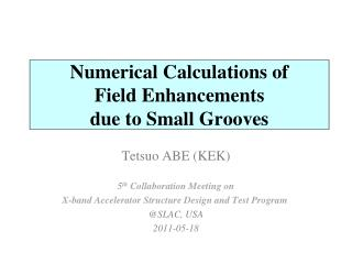 Numerical Calculations of Field Enhancements due to Small Grooves