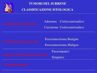 TUMORI DEL SURRENE  CLASSIFICAZIONE ISTOLOGICA