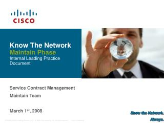 Know The Network Maintain Phase Internal Leading Practice Document