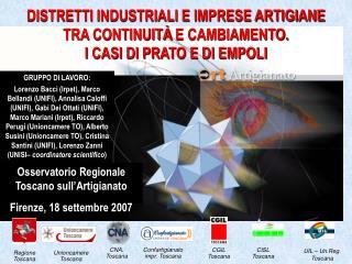Osservatorio Regionale Toscano sull'Artigianato Firenze, 18 settembre 2007