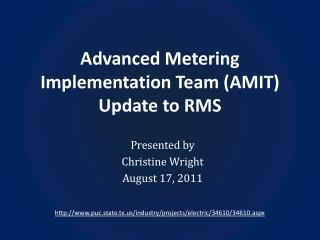 Advanced Metering Implementation Team (AMIT) Update to RMS